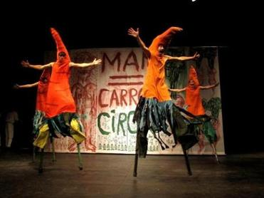 "Bread and Puppet Theater brings ""Man = Carrot Circus'' to the Cyclorama at the Boston Center for the Arts."